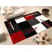 House Additions Contour Cut 3D Handmade Red/Black Area Rug