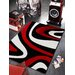 House Additions Contour Cut 3D Handmade Black/Red Area Rug