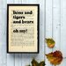 """Bookishly """"Lions and Tigers and Bears"""" from Wizard of Oz by L. Frank Baum Framed Typography"""