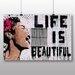 "Big Box Art ""Life is Beautiful Graffiti"" by Banksy Art Print on Canvas"