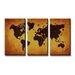 Urban Designs Worldmap 3 Piece Graphic Art on Canvas Set