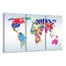 Urban Designs Worldmap 3 Piece Graphic Art Wrapped on Canvas Set
