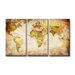 Urban Designs Worldmap 3 Piece Graphic Art Wrapped on Canvas Set in Antique