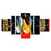 Urban Designs Colorful 5 Piece Graphic Art Wrapped on Canvas Set
