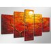 Urban Designs Heart Tree 5 Piece Art Print Wrapped on Canvas Set
