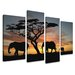 Urban Designs Africa 4 Piece Photographic Print Wrapped on Canvas Set
