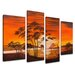 Urban Designs Africa 4 Piece Graphic Art Wrapped on Canvas Set