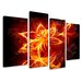 Urban Designs Fire Flower 4 Piece Graphic Art Wrapped on Canvas Set