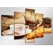 Urban Designs Coffee 5 Piece Photographic Print on Canvas Set
