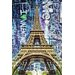 Fluorescent Palace Street Art in The Sky Graphic Art on Canvas in Blue