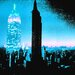 Fluorescent Palace I Am Ny Graphic Art on Canvas in Blue