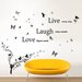 Walplus Butterfly Vine with Quote Live Laugh Wall Sticker