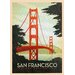 LivCorday San Fransisco Travel Vintage Advertisement Wrapped on Canvas
