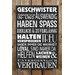 Factory4Home Schild-Set BD-Geschwister, Typographische Kunst in Schwarz