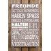 Factory4Home Schild-Set BD-Freunde, Typographische Kunst in Taupe