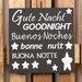 Factory4Home Schild-Set BD-Gute Nacht, Typographische Kunst in Schwarz