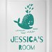 Cut It Out Wall Stickers Personalised Cute Baby Whale Kids Sign Door Room Wall Sticker