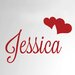 Cut It Out Wall Stickers Personalised Name with Two Hearts Door Room Wall Sticker