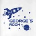 Cut It Out Wall Stickers Personalised Rocket Ship in Space Kids Door Room Wall Sticker