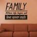Cut It Out Wall Stickers Family Where Life Begins And Love Never Ends Wall Sticker