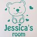 Cut It Out Wall Stickers Personalised Cute Teddy Bear Kids Room Sign Wall Sticker