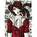 DEInternationalGraphics Chat sur robe rouge Kunstdruck von Mirota