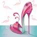 """DEInternationalGraphics """"Pretty Flamingo"""" von Marilyn Robertson, Kunstdruck"""