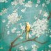 """DEInternationalGraphics Acrylglasbild """"Cherry Blossoms I on Blue"""" von Danhui Nai, Kunstdruck"""
