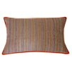 Jiti Desi Stripe Hand Block Printed Embroidered Linen Lumbar Pillow