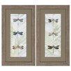 Propac Images Dragonfly Botanical 2 Piece Framed Graphic Art Set