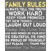 PTM Images Family Rules Textual Art on Canvas