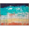 PTM Images Turquoise Drips Painting Print on Wrapped Canvas