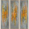 PTM Images Orange California Poppies Triptych Painting Print on Wrapped Canvas
