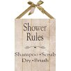 PTM Images Shower Rules Textual Art on Plaque