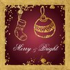 PTM Images Merry and Bright Framed Graphic Art in Antique Gold and Purple