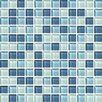 "Daltile Color Wave 1"" x 1"" Mosaic Field Tile in Winter Blues"