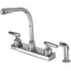 Hardware House Double Handle Deck Mounted Kitchen Faucet with Spray