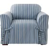 Sure Fit Grain Sack Stripe Box Cushion Arm Chair Slipcover