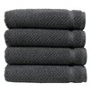 Linum Home Textiles Herringbone Luxury Hotel & Spa Weave 100%Turkish Cotton Hand Towel (Set of 4)