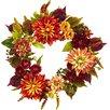"Nearly Natural 22"" Dahlia and Mum Wreath"