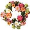 "Nearly Natural 24"" Peony Wreath"
