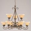Toltec Lighting Olde Iron 9 Light  Chandelier with Crystal Glass Shade