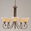 Toltec Lighting Curl 5 Light Up Chandelier with Crystal Glass Shade