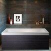 """Aquatica Pure 1D 67"""" x 31.5"""" Aquatica Back To Wall Stone Bathtub with Dark Decorative Wooden Side Panels"""