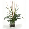 Distinctive Designs Waterlook® Silk Rubber Leaves with Blades and Rattan in Glass Vase