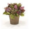 Distinctive Designs Silk Hydrangea Mix with Greenery in Orchid Pot