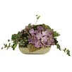 Distinctive Designs Silk Hydrangeas and Groundsel with MountaIn Ivy in Square Tray (Set of 2)