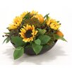 Distinctive Designs Silk Sunflowers with Lemons, Peppers and Artichokes Desk Top Plant in Bowl