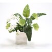 Distinctive Designs Silk Antheriums, Phalaenopsis Orchids, Guzmania Leaves and Skimmia in Nickel Vase