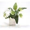 Distinctive Designs Silk Antheriums, Phalaenopsis Orchids, Guzmania Leaves and Skimmia in Nickel Vase